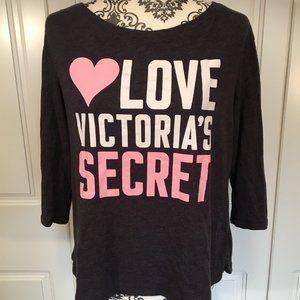 LOVE VICTORIA'S SECRET soft grey graphic tee S